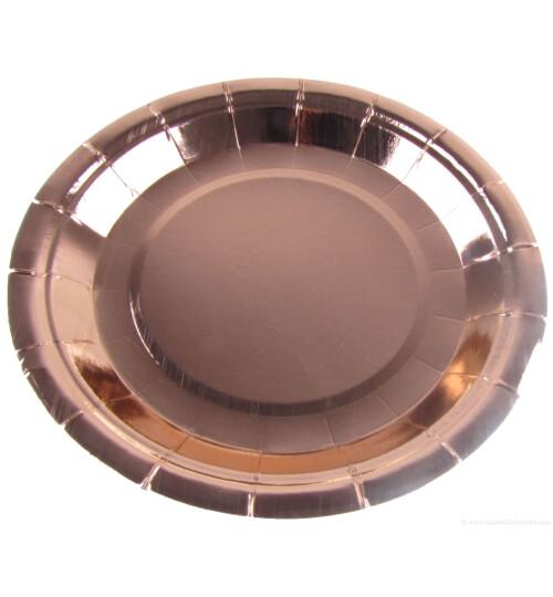 Парти чинии металик розово злато - 23 см.