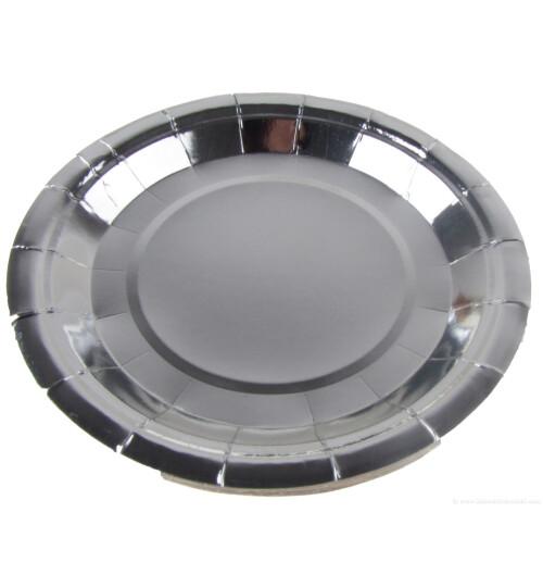 Парти чинии металик  сребърни - 23 см.