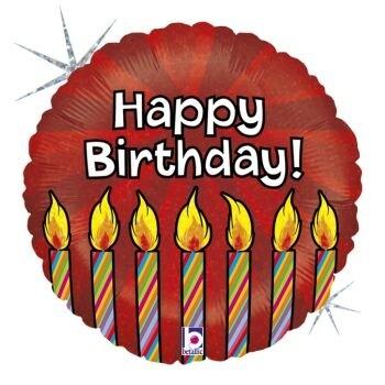 Балон Happy Birthday червен със свещички