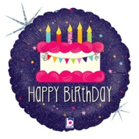 Балон Happy Birthday торта със свещички
