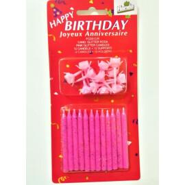 Свещички за торта - розови