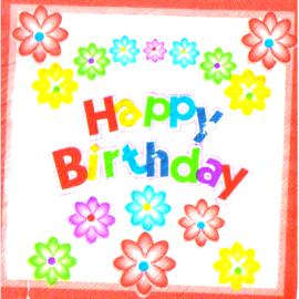 Парти салфетки Happy Birthday с цветя