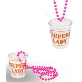 """Чашка за шот с верижка - """" SUPER LADY """""""