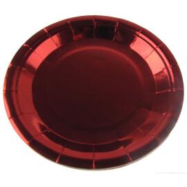 Парти чинии металик червени - 23 см.