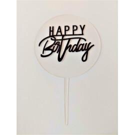Топер за Торта Happy Birthday черен