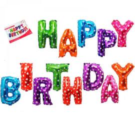 Фолиеви балони букви Happy Birthday -  разноцветни