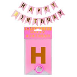 Парти украса Happy Birthday - розов