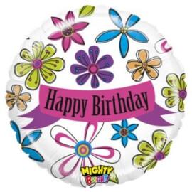 Фолиев балон Happy Birthday цветя