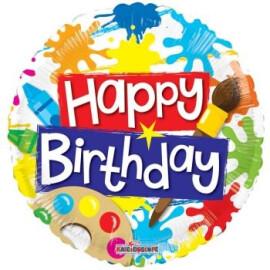 Балон Happy Birthday петна от боя