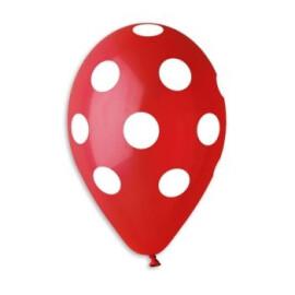 Червени балони на бели точки