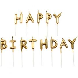Свещички - Happy Birthday злато и сребро