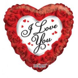 Балон I love you с рози