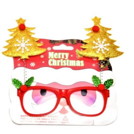 Коледни очила елхички - златни