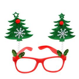 Коледни очила елхички - зелени