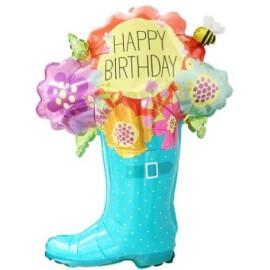 Балон Happy Birthday ботуш с цветя