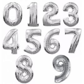 Фолийни балони цифри малки сребърни