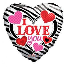 Балон I love you - зебра