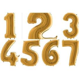 Балон златна цифра 102 см.