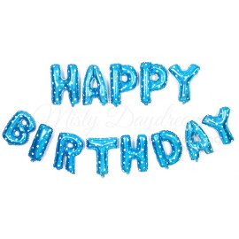 Фолиеви балони букви Happy Birthday със звездички