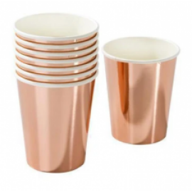 Парти чаши металик розово злато
