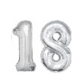 Балон сребърна цифра  81 см.