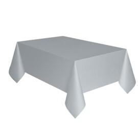 Едноцветна парти покривка - сребърна