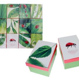 Подаръчна кутия - калинки и листа