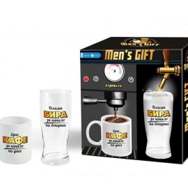 Комплект за него - чаша за кафе и за бира