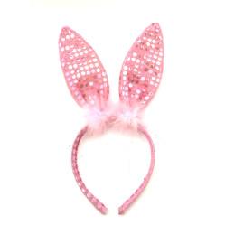 Заешки уши с пухче - розови