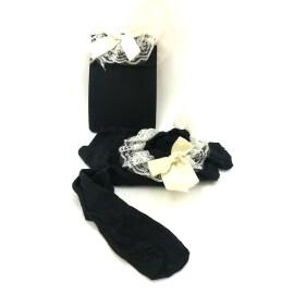 Чорапи черни с бяла дантела