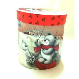 Коледна кутия кръгла - Мече