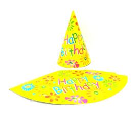 Парти шапка с цветя - Happy Birthday - 16 см
