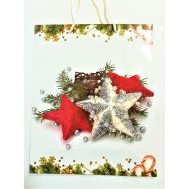Подаръчна торбичка с Коледни звезди