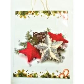 Подаръчна торбичка с Коледни звезди - 44см.