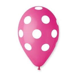 Цикламени балони на бели точки