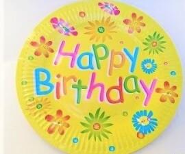 Парти чинии Happy Birthday - 23 см.