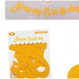 Парти надпис - Happy Birthday злато