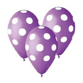 Лилави балони на бели точки