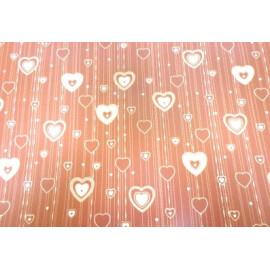 Опаковъчна хартия кафява на бели сърца