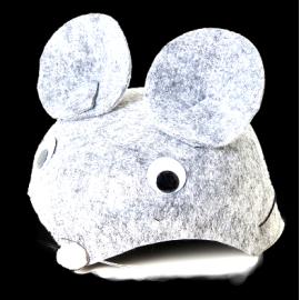 Карнавална шапка мишка сива